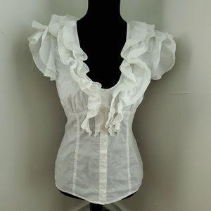 Bebe White Ruffle Button Down Shirt M
